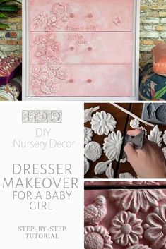 Learn how to use IOD moulds to upcycle a thrift store dresser into beautiful DIY nursery decor for a baby girl. Step-by-step video tutorial showing how easy it is to use air dry clay, silicone molds, and chalk paint to decorate a baby girl bedroom. Diy Nursery Decor, Diy Home Decor, Nursery Ideas, Bright Painted Furniture, Paint Furniture, Furniture Ideas, Diy Furniture Appliques, Orchard Design, Nursery Dresser
