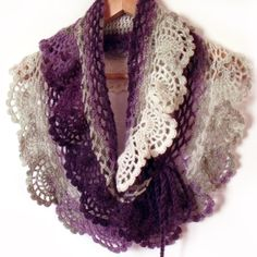 Patons lace crochet shawl  Lace crochet scarf ruffle capelet prayer shawl purple white Victorian. $55.00, via Etsy.