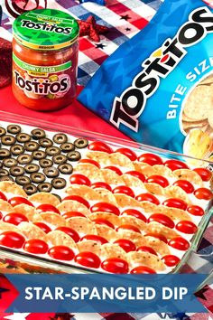 Star-Spangled Dip Fourth Of July Food, 4th Of July Celebration, 4th Of July Party, July 4th, Party Snacks, Appetizers For Party, Holiday Recipes, Cinco De Mayo, Fiesta Party