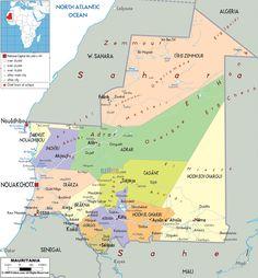 Political Map of Mauritania - Ezilon Maps