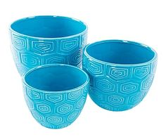 Set de 3 maceteros en cerámica – azul
