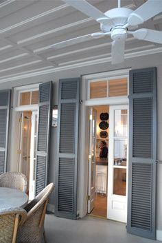 LOVE big Louisiana Shutters on exterior doors!