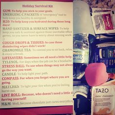 """Great idea for team in retail """"Holiday Survival Kit"""""""