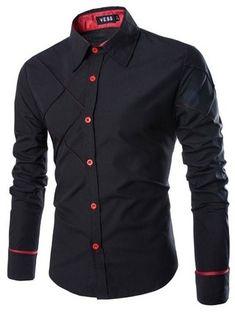 Camisa Casual Fashion - Diseño Elegante y Moderno - Negra, Roja y Blanca — CamisasMasculinas.com - Lo Mejor de la Moda Masculina