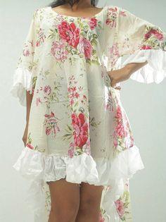 Vintage Roses Frill Hem Dress Top Cotton by BohoHippyChic2012, $65.00