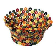 Woven Button Basket - World Folk Art - Find Stained Gourds, Metal Wall Hangings, and more