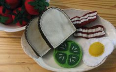 green tomato sandsich with egg and bacon by kiddycouture on Etsy, $20.00