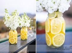 DIY Lemon Centerpiece * * * - 6″ glass vases (square looks best) - lemons (real or fake) - bouquets of artificial white hydrangeas & yellow roses. In lieu of hydrangeas & yellow roses, you may use any flower you wish – daisies would look pretty, too! ---- Simply add the lemons to your vase; add flowers. Cut the stems short; place in vase. ---- You can also use real lemons and cut to reveal the slices.