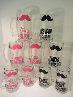 12 Personalized mustache wine glasses or by dotteddesigns4brides, $120.00