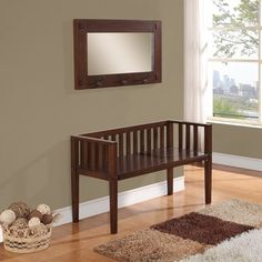 Huntington Collection Dark Tobacco Brown Entryway Storage Bench with Mirror - Overstock™ Shopping - Great Deals on WyndenHall Benches