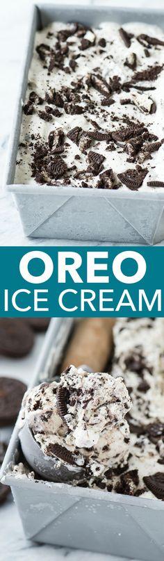3 ingredient Oreo Ice Cream - the easiest no churn oreo ice cream recipe! This recipe for oreo ice cream calls for THREE ingredients! Mini Desserts, Ice Cream Desserts, Frozen Desserts, Frozen Treats, Delicious Desserts, Dessert Recipes, Yummy Food, Oreo Ice Cream, Ice Cream Treats