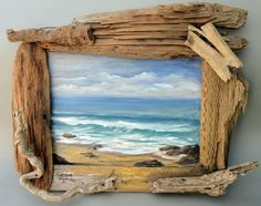 CA Beach on Salvaged Cupboard Door with Driftwood Frame: This masterpiece is painted on a salvaged cupboard door then framed with driftwood found along the Pacific Northwest coastline.