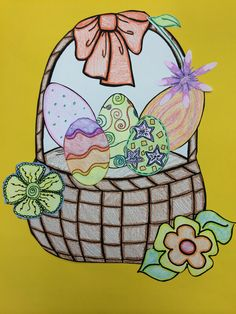 This is one of the two baskets and eggs from the adjective worksheets that students can make from Describe It! Using Adjectives to Enhance Writing & Craftivity( $2.50). After they complete their writing, it can be displayed with the basket! Check it our at my TpT store: teacherspayteachers.com/store/Mercedes-Merrell