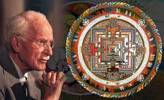 """C.G. Jung and one mandala featuring """"the squaring of the circle""""."""