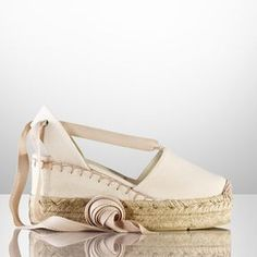 Ralph Lauren Uma Platform Espadrille on shopstyle.com.. . . . . . . . . lace-ups, Nice colour and comfy :). . may be bit heavy looking?