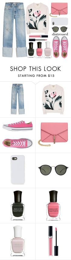 """distressed denim"" by juliehalloran ❤ liked on Polyvore featuring RE/DONE, Burberry, Converse, Olivia Miller, LMNT, Ray-Ban, Deborah Lippmann and Christian Dior"