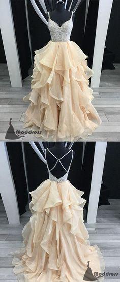 V-Neck Long Prom Dress Beading Evening Dress Tulle Sleeveless Ball Gowns Formal Dress,HS555 #fashion#promdress#eveningdress#promgowns#cocktaildress