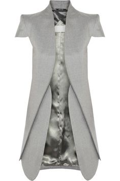 Gray lightweight wool and silk-blend Padded shoulders, overlapping front, concealed zip-fastening side pockets, open front, fully lined Slips on 85% wool, 15% silk Dry clean