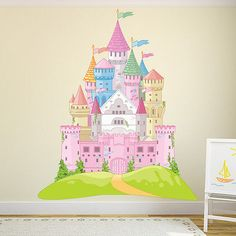 Fairytale castle pink #princess colour wall #sticker kids art #decals decor, View more on the LINK: http://www.zeppy.io/product/gb/2/222113326322/