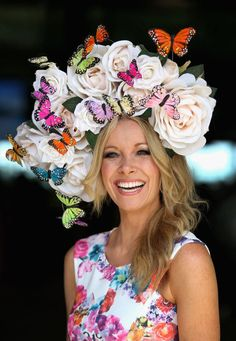 Royal Ascot 2015 in Berkshire.. Anouska Lancaster wearing roses and butterflies