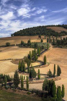 myinnerlandscape:  the iconic road from Pienza to Monticchiello