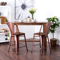 Tabouret Wood Seat Brushed Copper Bistro Counter Stools (Set of 2) | Overstock.com Shopping - The Best Deals on Bar Stools