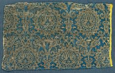 Silk Fragment, 1300s Iran or Iraq, 14th century lampas weave, silk and gold thread, Overall - h:20.30 w:32.50 cm