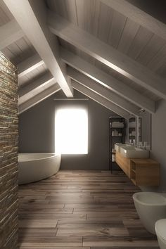 If you have a small bathroom in your home, don't be confuse to change to make it look larger. Not only small bathroom, but also the largest bathrooms have their problems and design flaws. Attic Bathroom, Attic Rooms, Grey Bathrooms, Small Bathroom, Bathroom Ideas, Bathroom Spa, Bathroom Vanities, Master Bathroom, Style At Home