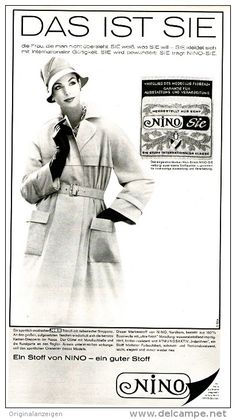 Original-Werbung/Inserat/ Anzeige 1960 - MODE : NINO - ca. 320 x 170 mm