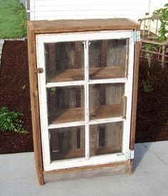 Old window pane idea. Cabinet - Old window pane idea… Cabinet - Old Window Projects, Barn Wood Projects, Furniture Projects, Diy Furniture, Diy Projects, Window Ideas, Furniture Vintage, Furniture Design, Old Window Panes