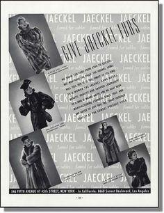 1937 Chinchilla Fox Sable Guanaquito Broadtail Jaeckel Furs Christmas Photo Ad |