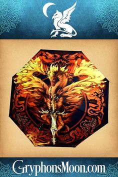 """Flame Blade Dragon Umbrella - Fierce, fiery, and fantastic. This is one dragon companion you'll always want by your side. This full-sized umbrella measures 36"""" across, but collapses to only 9"""" long when closed, making it easy to slip into a purse or bag. Please visit our website to order, and to see the other wonderful things we have to offer. #Umbrella #Dragon #Dragons #Fire #RainyDay #Accessories Here Be Dragons, Witch Spell Book, Moon Logo, Great Father's Day Gifts, Red Dragon, Photo Quotes, Rainy Days, Bag Storage, In This Moment"""