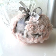 Body Powder Puff - pewter gray and blush pink bath pouf - two toned plush powder duster - gift boxed