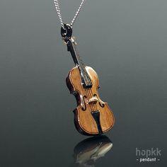 1:30 Wood Violin Pendant, Violin Necklace - by hopkk