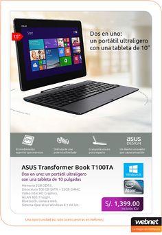 ASUS Transformer Book T100TA! Dos en uno: un portátil ultraligero con una tableta de 10 pulgadas.