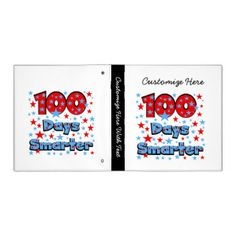 Red and blue text with 100 stars design on 100 Days Smarter T-shirts, mugs, buttons, bags, cards, stickers, magnets, keychains, and other 100 days of school apparel and gifts. #smarter #100 #days #smarter #100 #days #100th #day #100 #days #school #school #elementary #school #teachers #cute #stars