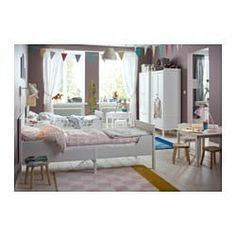 IKEA SUNDVIK Ext bed frame with slatted bed base White cm Extendable, so it can be pulled out as your child grows. Coastal Living Rooms, Living Room Decor, Ikea Sundvik, Small Living Room Layout, Covered Patio Design, Kindergarten Classroom Decor, Bed Slats, Bed Base, Interior Design Living Room