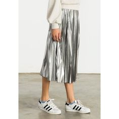 Sans Souci Metallic pleated midi skirt (44 CAD) ❤ liked on Polyvore featuring skirts, silver, mid calf skirts, pleated skirts, stretch midi skirt, stretch skirts and metallic midi skirt