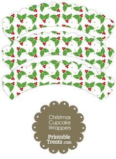 Christmas Holly Scalloped Cupcake Wrappers from PrintableTreats.com