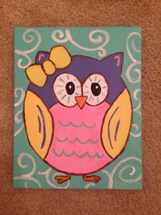 Owl painting on canvas with acrylic pants. Really easy!