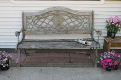 iron and wood bench make over who knew it looked so bad before, decks, outdoor furniture, outdoor living, painted furniture, It s a great sturdy bench It was so pretty when we first saw it Funny thing I still see it that way That s what my husband says about me I don t let him go to the eye doctor