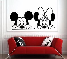 Cheap vinyl wall stickers, Buy Quality wall sticker directly from China nursery decor Suppliers: Cartoon Mickey and Minnie Mouse wall art,Cute Animal Vinyl Wall stickers,Baby Room Nursery Decor Wallpaper Do Mickey Mouse, Minnie Mouse Wall Decals, Arte Do Mickey Mouse, Disney Canvas Paintings, Disney Canvas Art, Mini Canvas Art, Baby Room Decals, Wall Stickers Home Decor, Vinyl Wall Stickers