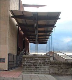 This image shows a ramp and steps that give that have been created to provide a second main entrance to Bristol  Library as the existing entrance was only accessible by steps.   The cafe was also located on this side of the building and a canopy provided to create an inclusive and comfortable entrance.  Image courtesy of Sandra Manley, UWE. Main Entrance, Bristol, Canopy, Maine, Create, Building, Places, Design, Buildings
