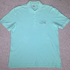 Mens Size 7 (XL) LACOSTE PIQUE POLO T-SHIRT Mint Green-ish-Blue BIG GATOR F6073 #Lacoste #PoloRugby