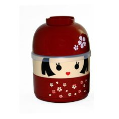 This Bento has three compartments. The hat is a Miso Soup bowl, the face is a covered container and the body is an open container. Adorable!