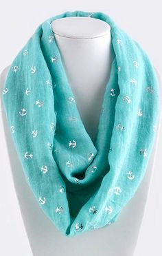 Nautical Infinity Scarf in Turquoise