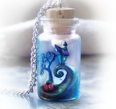 Tim Burton's Nightmare Before Christmas inspired bottle necklace, halloween polymer clay pendant necklace