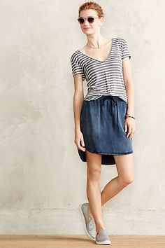 High-Low Chambray Skirt #anthropologie #anthrofave