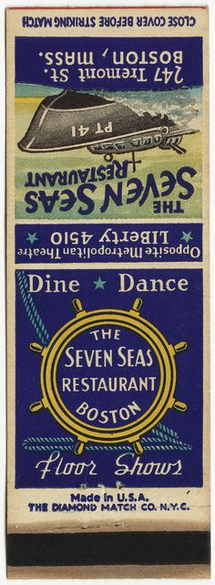 The Seven Seas Restaurant ~ To design & order your own logo #matches GoTo www.GetMatches.com