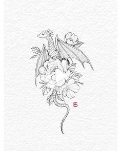 Small Dragon Tattoos, Dragon Tattoo For Women, Dragon Tattoo Designs, Small Tattoos, Tattoos For Women, Cool Tattoos, Cute Dragon Tattoo, Dragon Tattoo Drawing, Dragon Drawings
